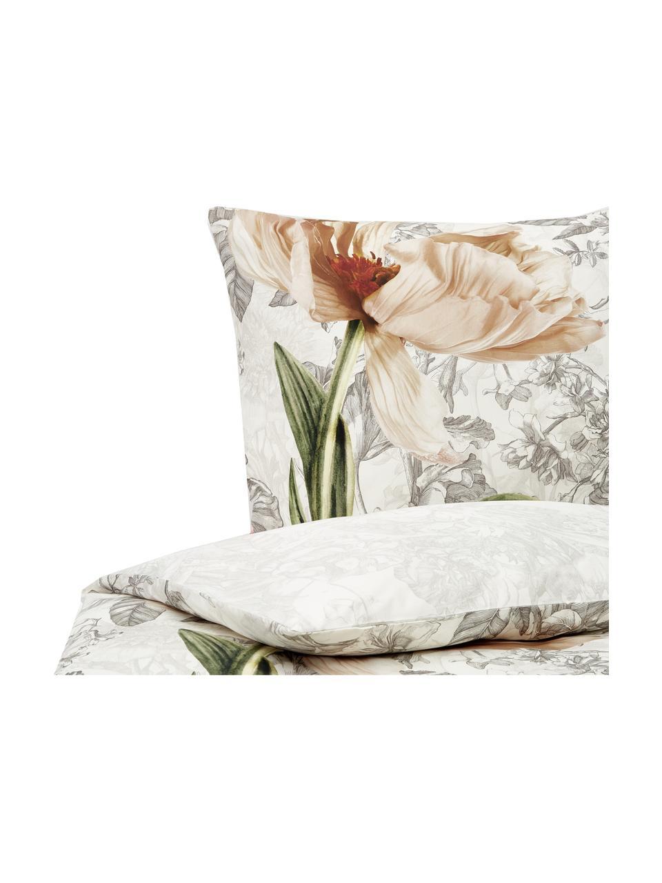 Baumwollsatin-Wendebettwäsche Annabel mit Blumenmuster, Webart: Satin, Vanillefarben, 135 x 200 cm + 1 Kissen 80 x 80 cm