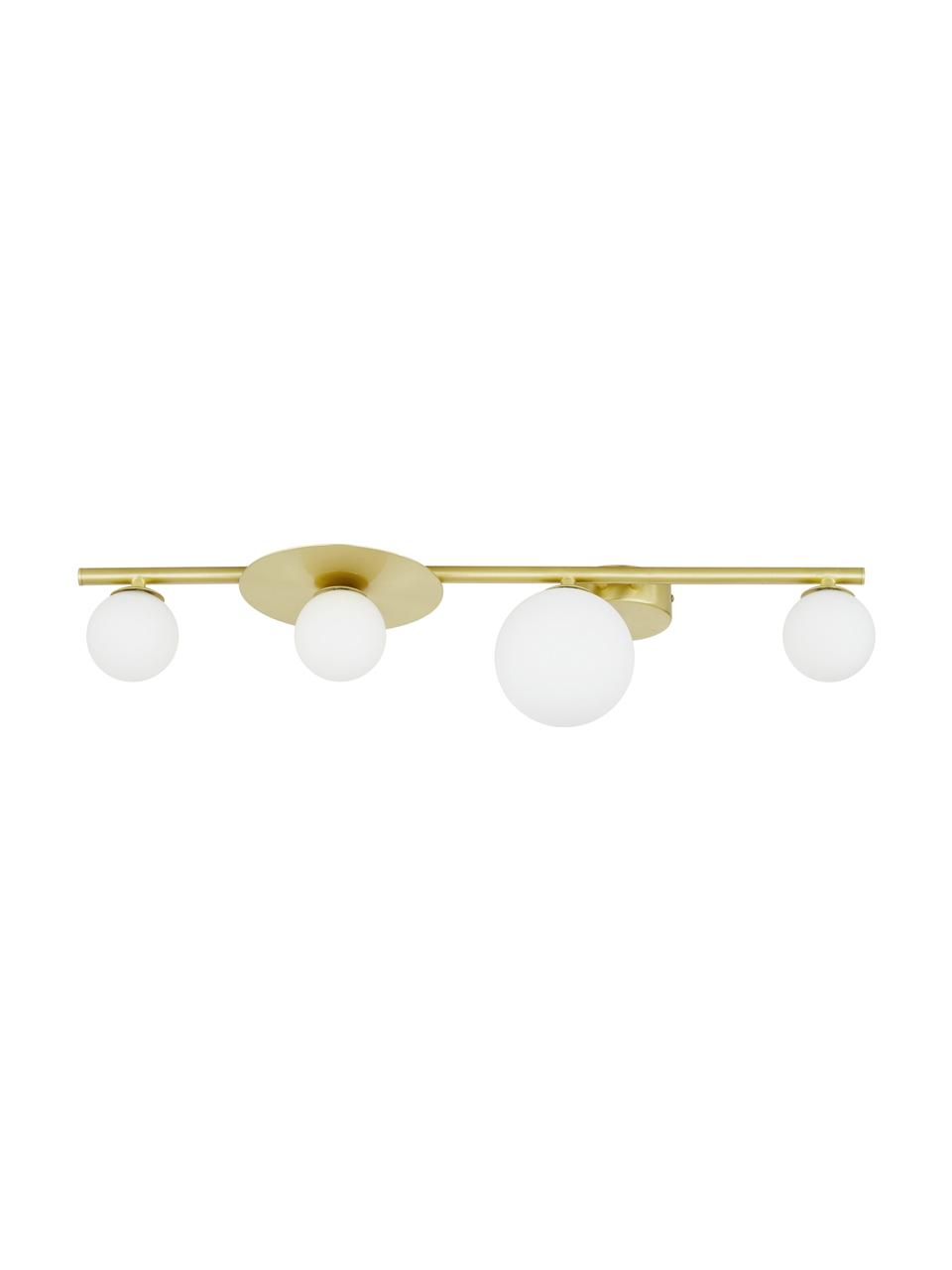 Plafondlamp Ciara van opaalglas, Baldakijn: vermessingd metaal, Baldakijn en fitting: mat messingkleurig. Lampenkappen: wit, 69 x 16 cm