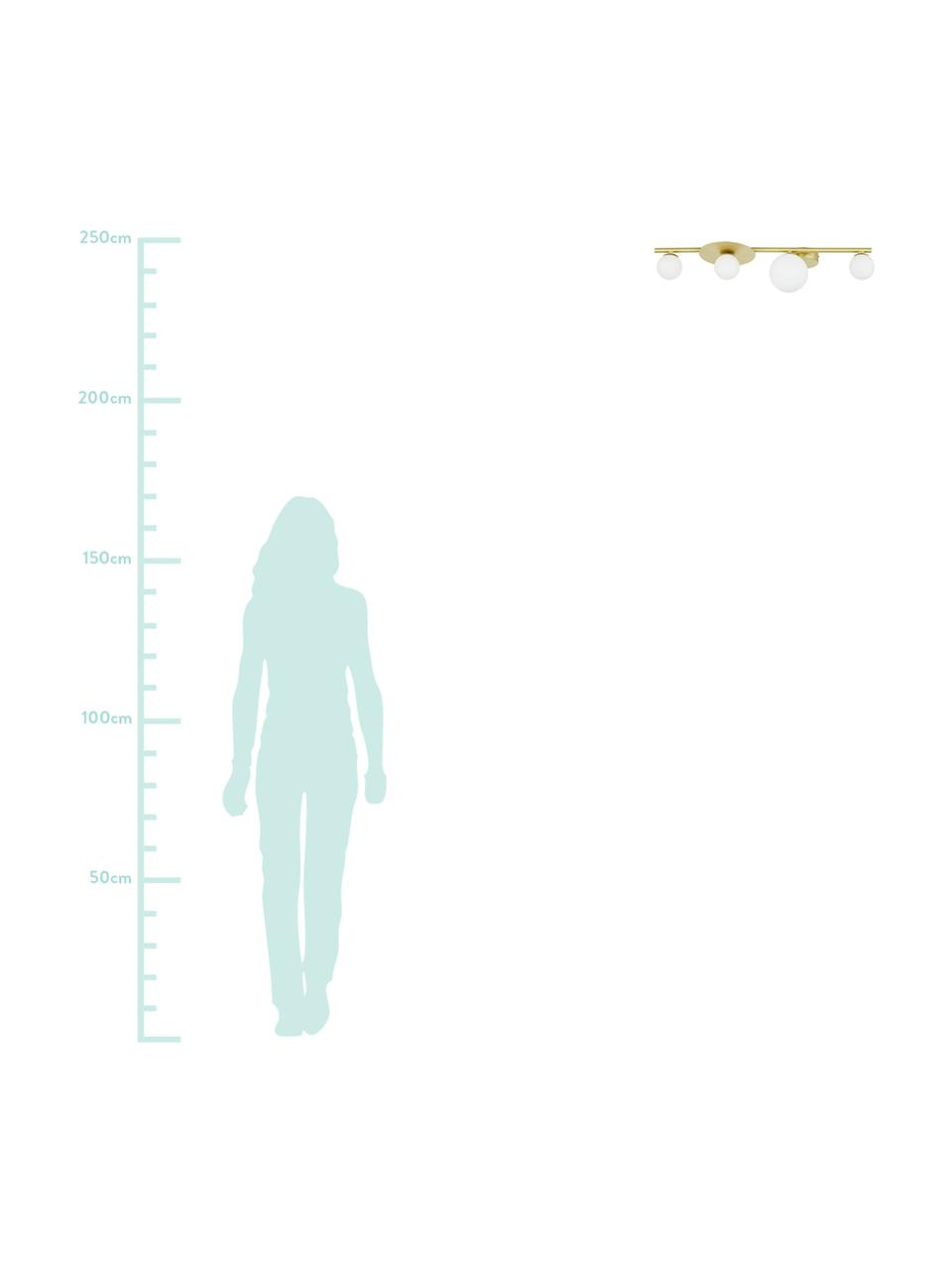 Lampada da soffitto in vetro opale Ciara, Paralume: vetro, Baldacchino: metallo ottonato, Baldacchino e rilegatura: ottone opaco Paralume: bianco, Larg. 69 x Alt. 16 cm