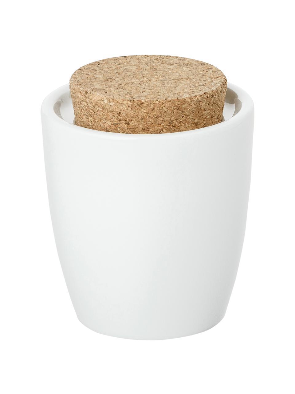 Zuckerdose Artesano Original aus Porzellan mit Korkdeckel, Porzellan, Kork, Weiß, 300 ml