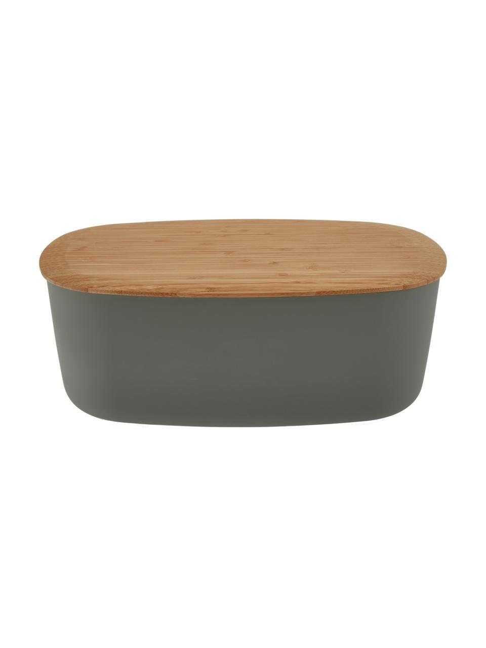 Chlebak z deską do krojenia jako pokrywka Box-It, Pojemnik: szary Pokrywka: brązowy, S 35 x W 12 cm