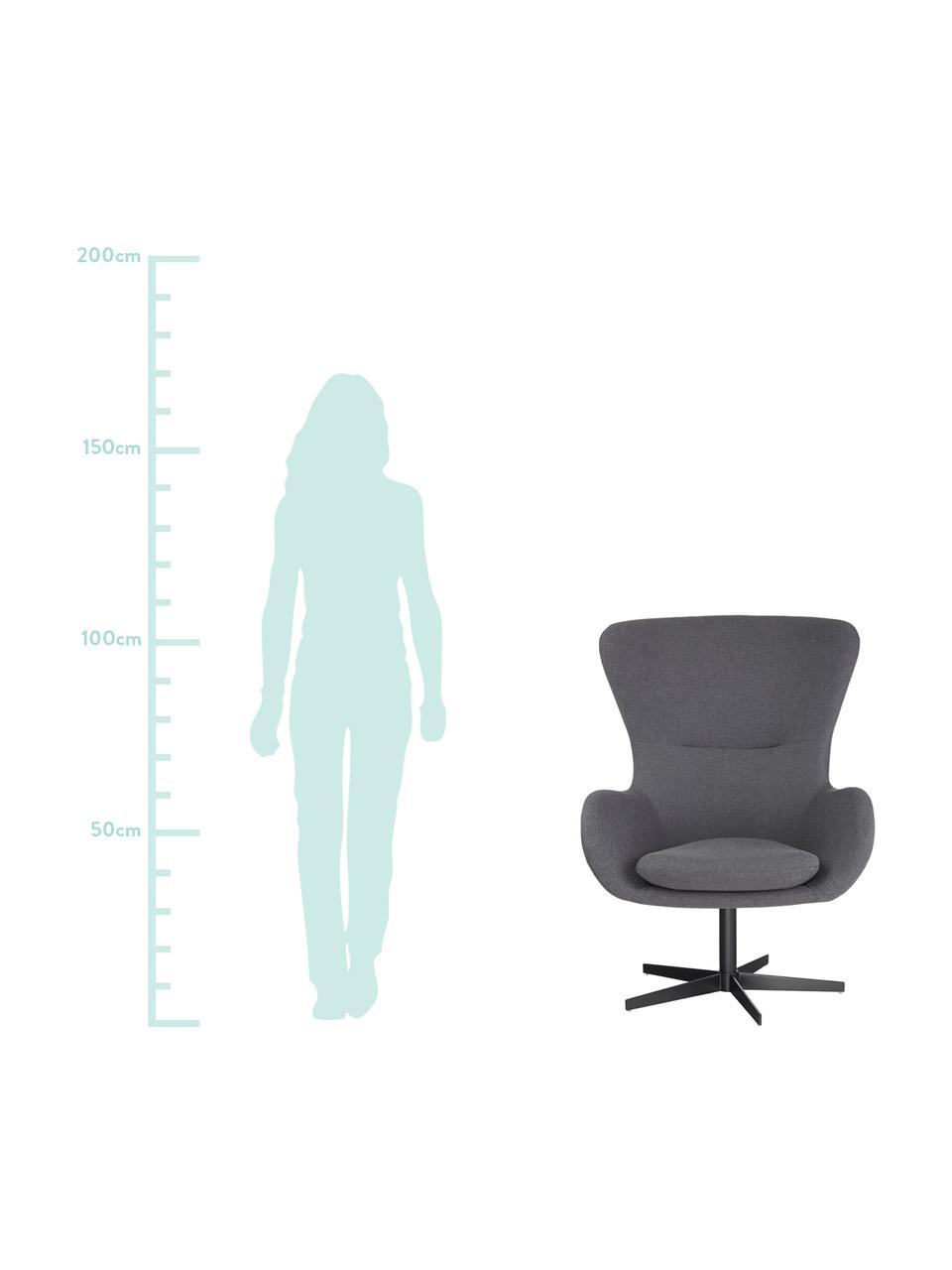 Ohrensessel Wing in Grau, drehbar, Bezug: 93% Polyester, 5% Baumwol, Füße: Metall, pulverbeschichtet, Webstoff Grau, B 76 x T 77 cm