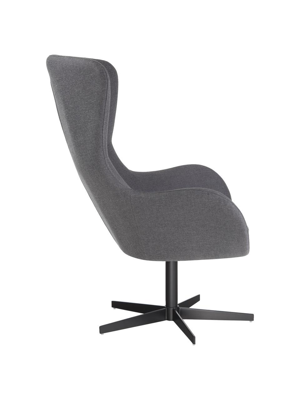 Obrotowy fotel uszak Wing, Tapicerka: 93% poliester, 5% bawełna, Nogi: metal malowany proszkowo, Szary, S 76 x G 77 cm
