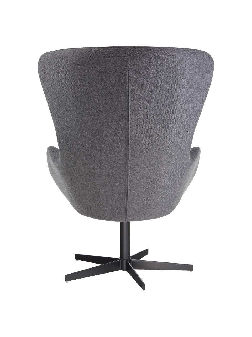 Fotel uszak Wing, Tapicerka: 93% poliester, 5% bawełna, Nogi: metal malowany proszkowo, Szary, S 76 x G 77 cm
