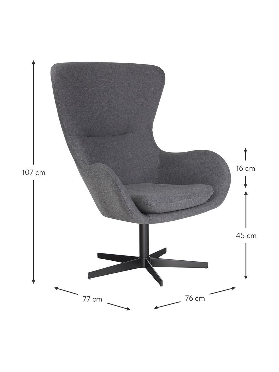 Drehbarer Ohrensessel Wing in Grau, Bezug: 93% Polyester, 5% Baumwol, Füße: Metall, pulverbeschichtet, Webstoff Grau, B 76 x T 77 cm