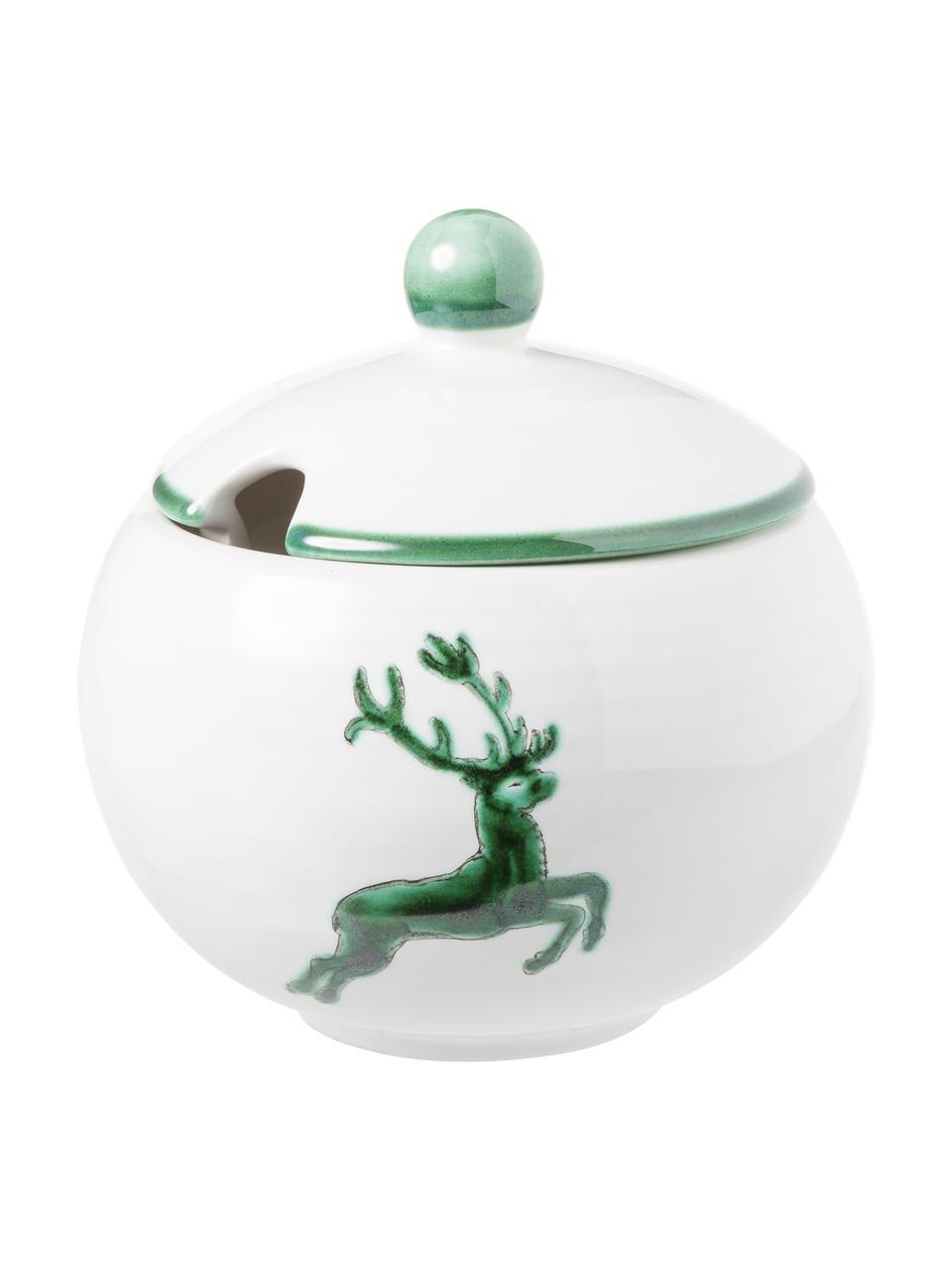 Handbemalte Zuckerdose Classic Grüner Hirsch, Keramik, Weiß, Ø 10 cm