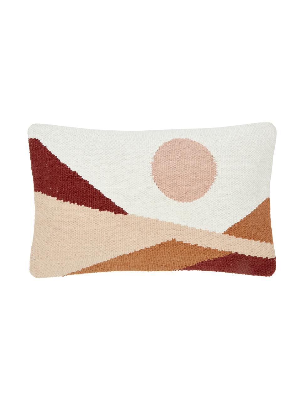 Handgewebte Kissenhülle Beta mit abstraktem Muster, 100% Baumwolle, Rosa,Rot,Weiß, 30 x 50 cm