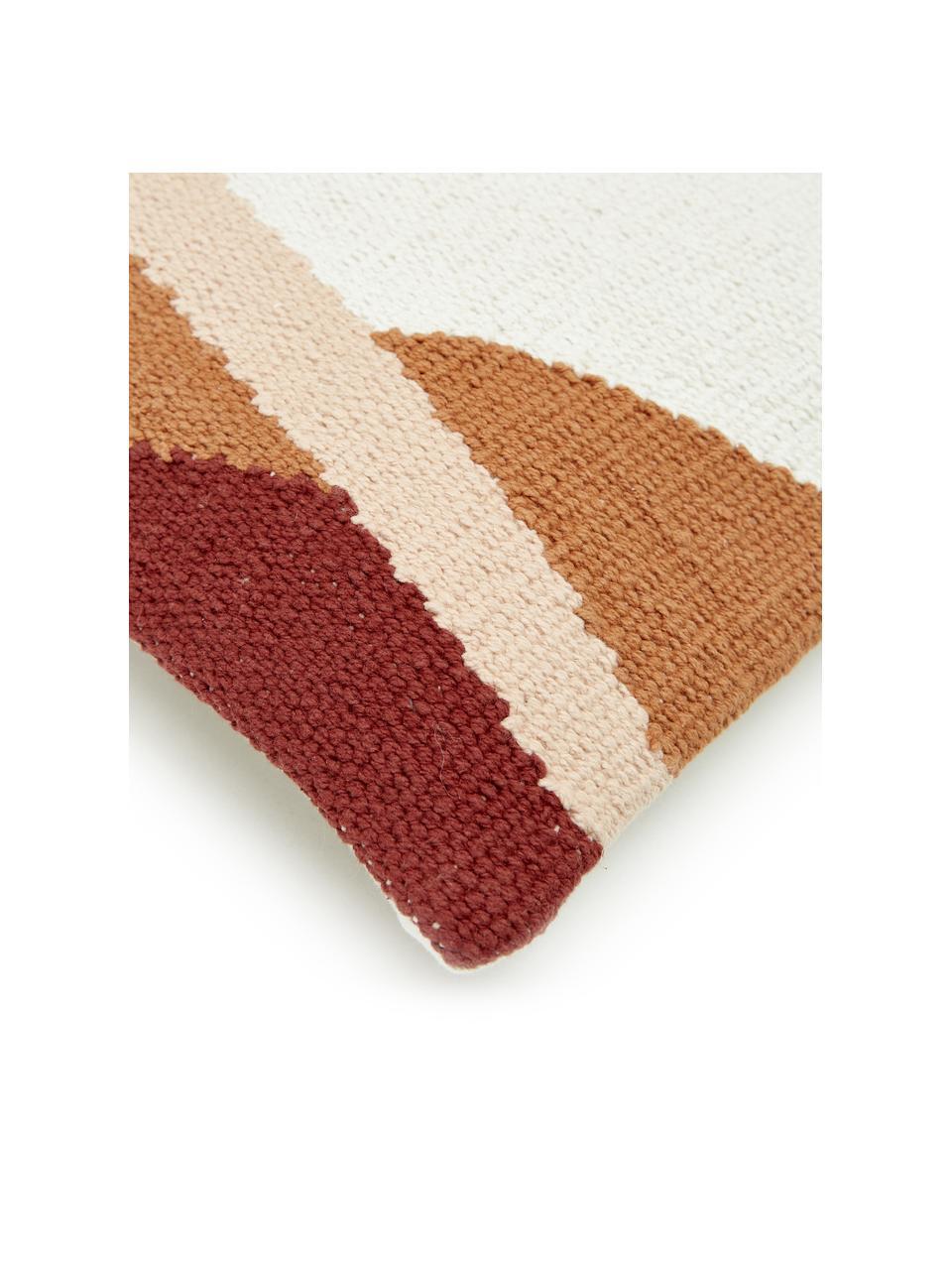 Federa arredo tessuta a mano con motivo astratto Beta, 100% cotone, Rosa, rosso, bianco, Larg. 30 x Lung. 50 cm