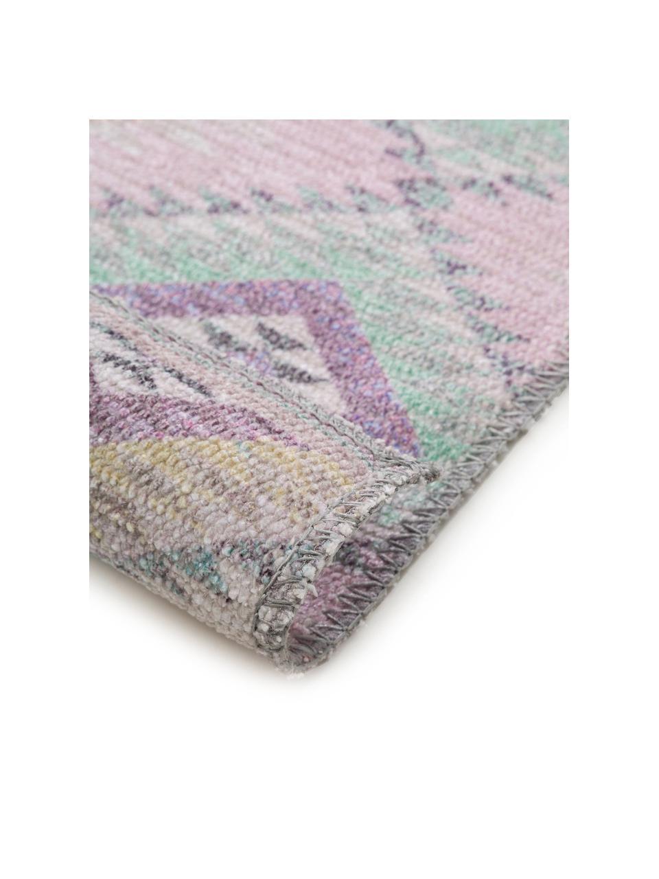 Kelimläufer Ana mit Ethnomuster in Rosa, 80% Polyester 20% Baumwolle, Rosa, Mehrfarbig, 75 x 230 cm