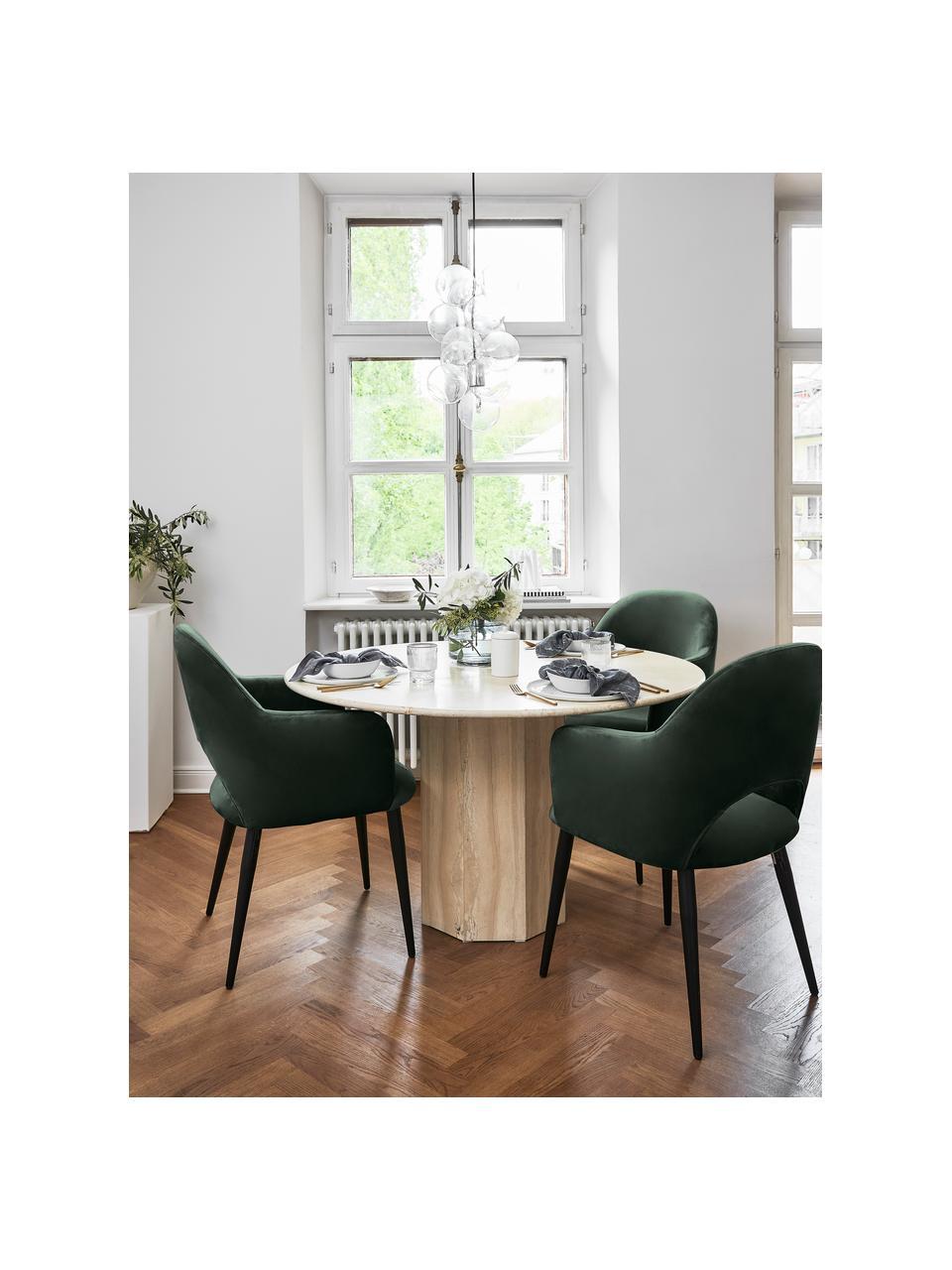 Sametová židle spodručkami Rachel, Tmavě zelená