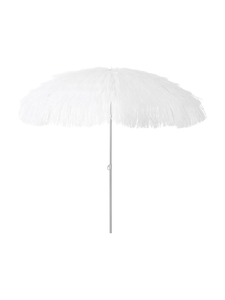 Witte parasol Hawaii met franjes, knikbaar, Ø 200 cm, Wit, Ø 200 x H 210 cm