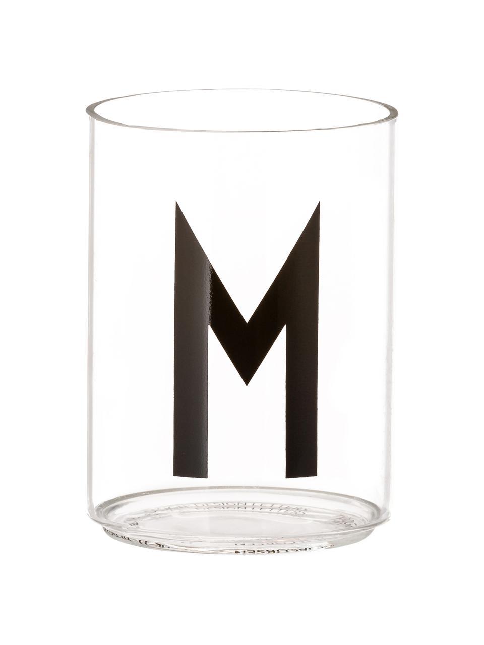 Design waterglas Personal met letters (varianten van A tot Z), Borosilicaatglas, Transparant, zwart, Waterglas M