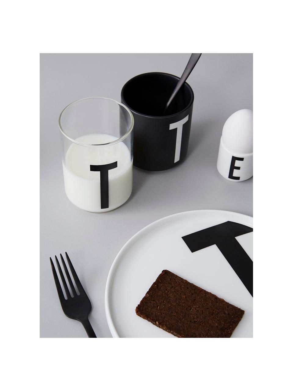 Design Wasserglas Personal mit Buchstaben (Varianten von A bis Z), Borosilikatglas, Transparent, Schwarz, Wasserglas M