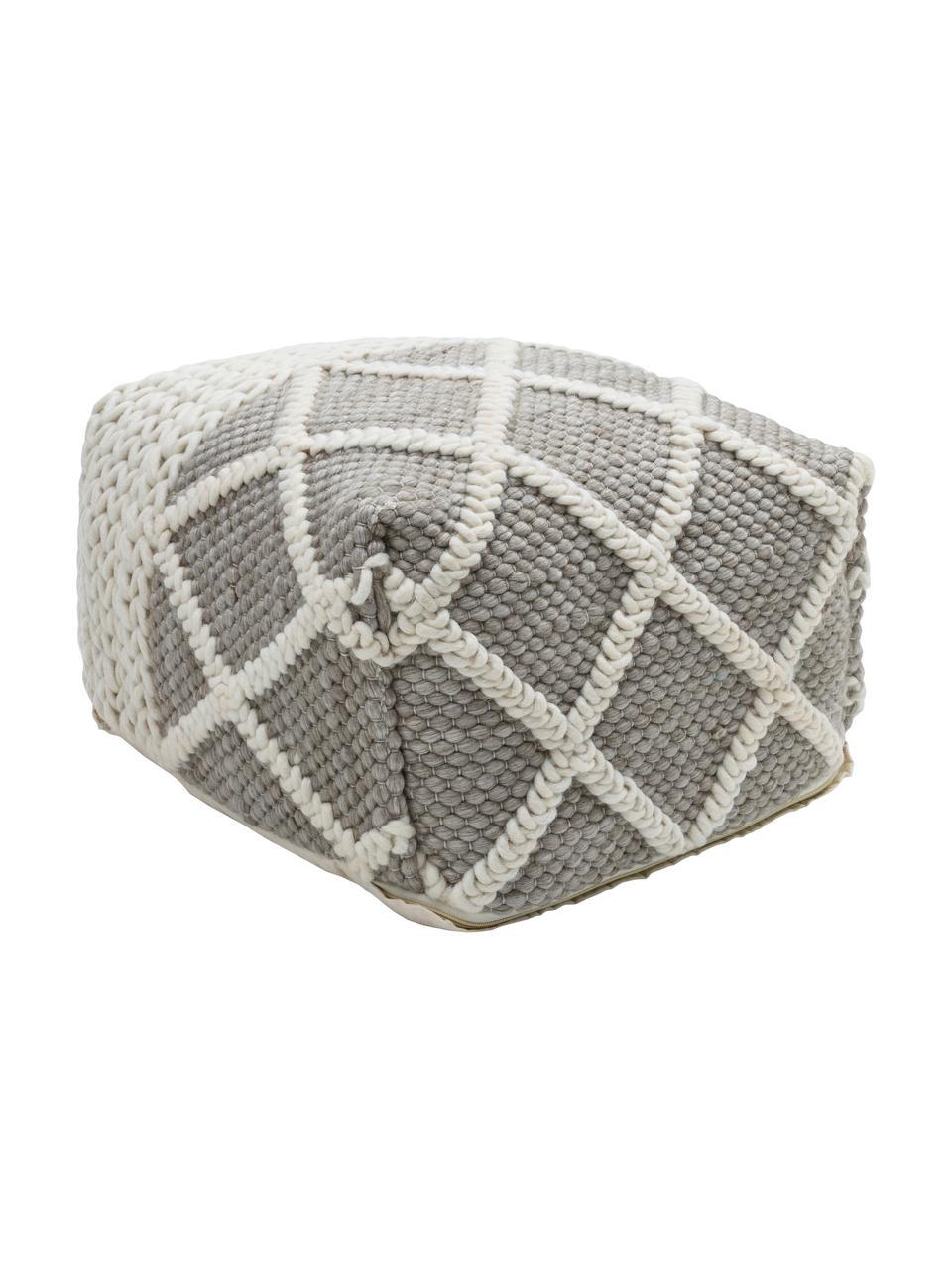 Strickpouf Anna, Bezug: 80% Wolle, 20% Baumwolle, Unterseite: Baumwolle, Grau, Creme, 45 x 30 cm