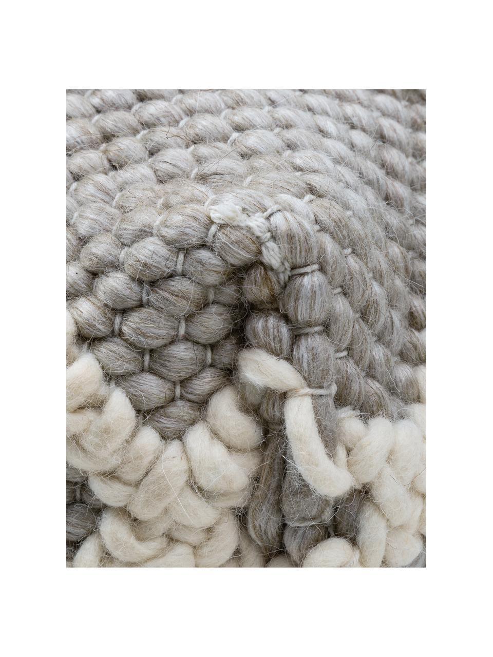 Puf z dzianiny Anna, Tapicerka: 80% wełna, 20% bawełna, Szary, kremowy, S 45 x W 30 cm