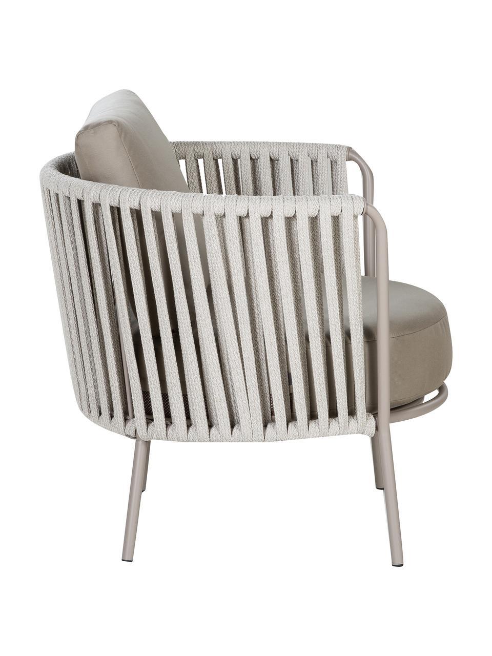 Fotel ogrodowy z tapicerowanym siedziskiem Sunderland, Nogi: stal cynkowana galwaniczn, Tapicerka: poliakryl, Taupe, jasny taupe, S 73 x G 74 cm