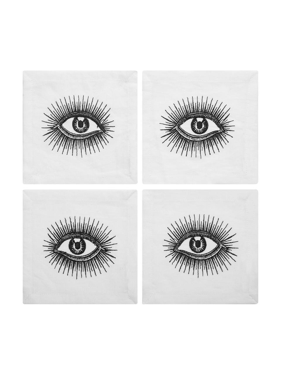 Serwetka koktailowa  z lnu Eyes, 4 szt., Len, Czarny, biały, S 15 x D 15 cm