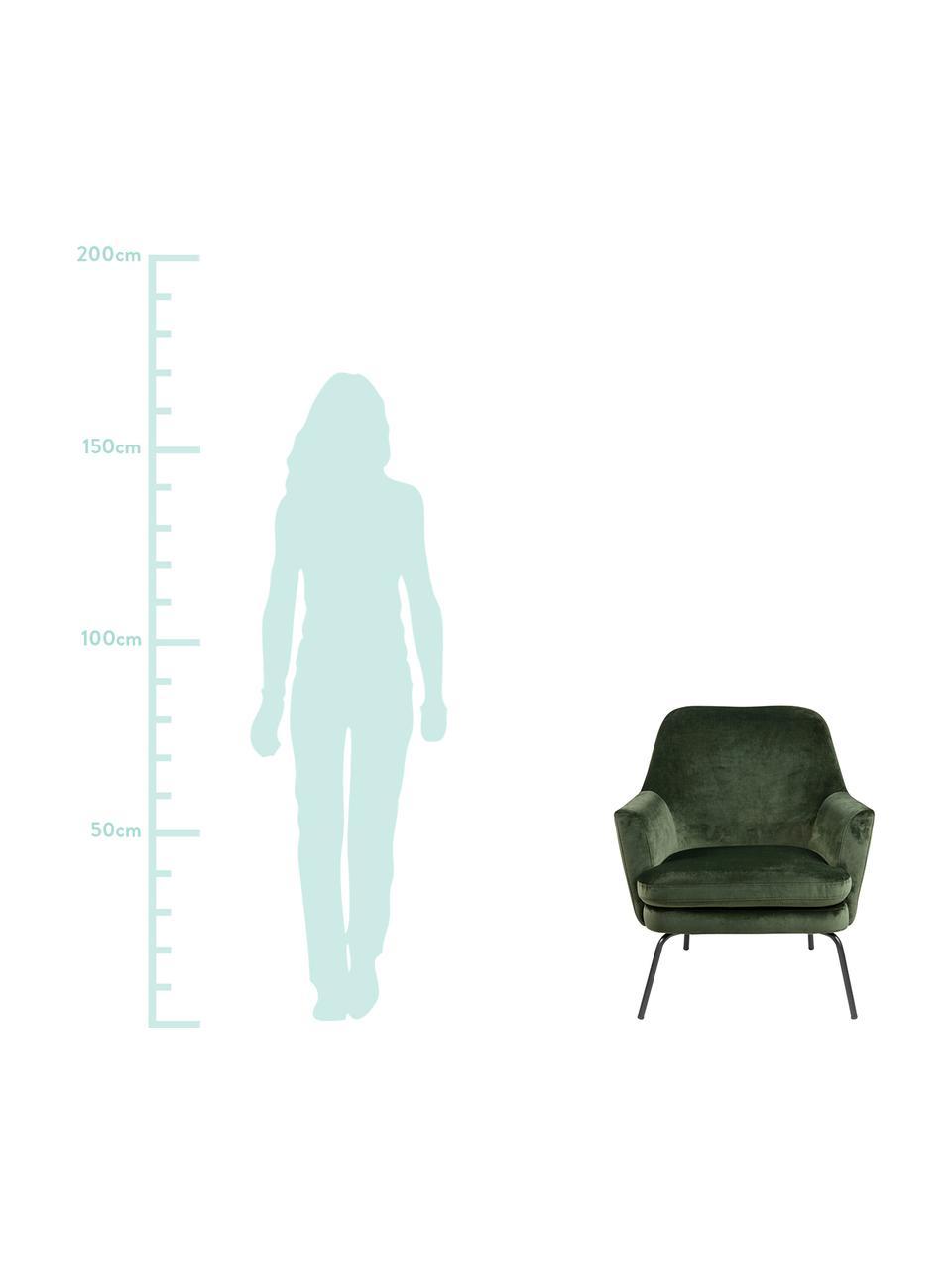 Samt-Cocktailsessel Chisa in Grün, Bezug: Polyester (Samt) Der hoch, Beine: Metall, pulverbeschichtet, Samt Waldgrün, B 68 x T 73 cm