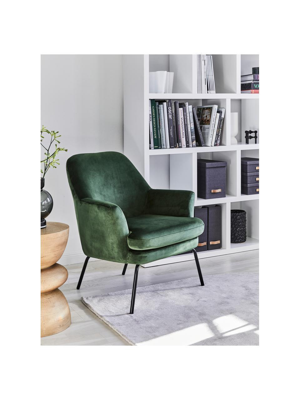 Fotel koktajlowy z aksamitu Chisa, Tapicerka: poliester (aksamit) Dzięk, Nogi: metal malowany proszkowo, Aksamitny zielony leśny, S 68 x G 73 cm