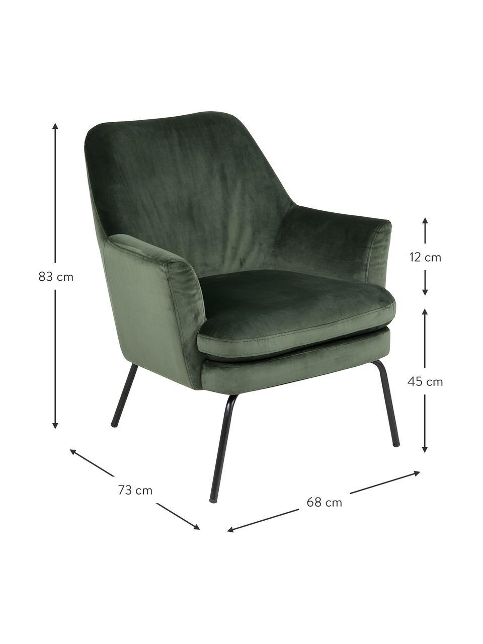 Fluwelen fauteuil Chisa in groen, Bekleding: polyester (fluweel), Poten: gepoedercoat metaal, Bosgroen, 68 x 73 cm
