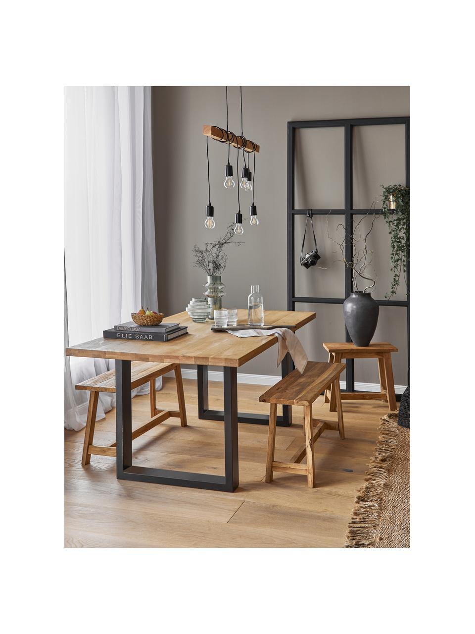 Grote hanglamp Townshend van hout, Zwart, houtkleurig, B 100  x D 10 cm