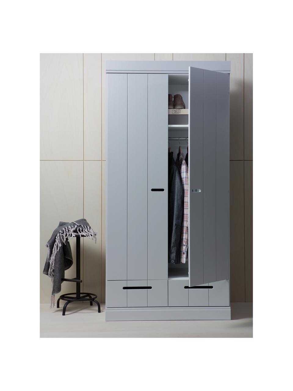 Armadio grigio chiaro a 2 ante Connect, Ripiani: melamina, Grigio chiaro, Larg. 94 x Alt. 195 cm