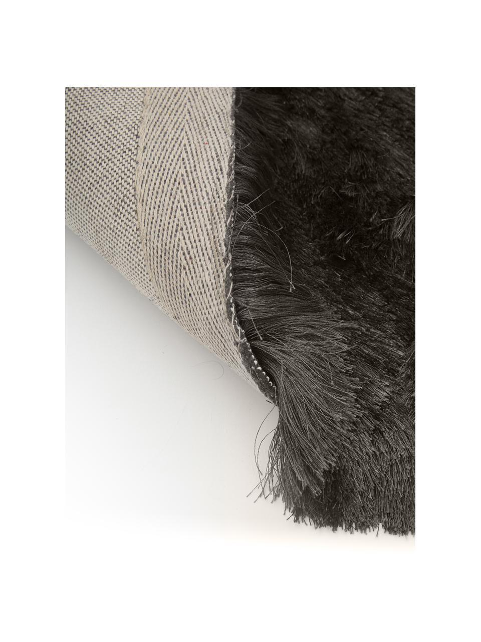 Glänzender Hochflor-Teppich Jimmy in Dunkelgrau, Flor: 100% Polyester, Dunkelgrau, B 300 x L 400 cm (Größe XL)