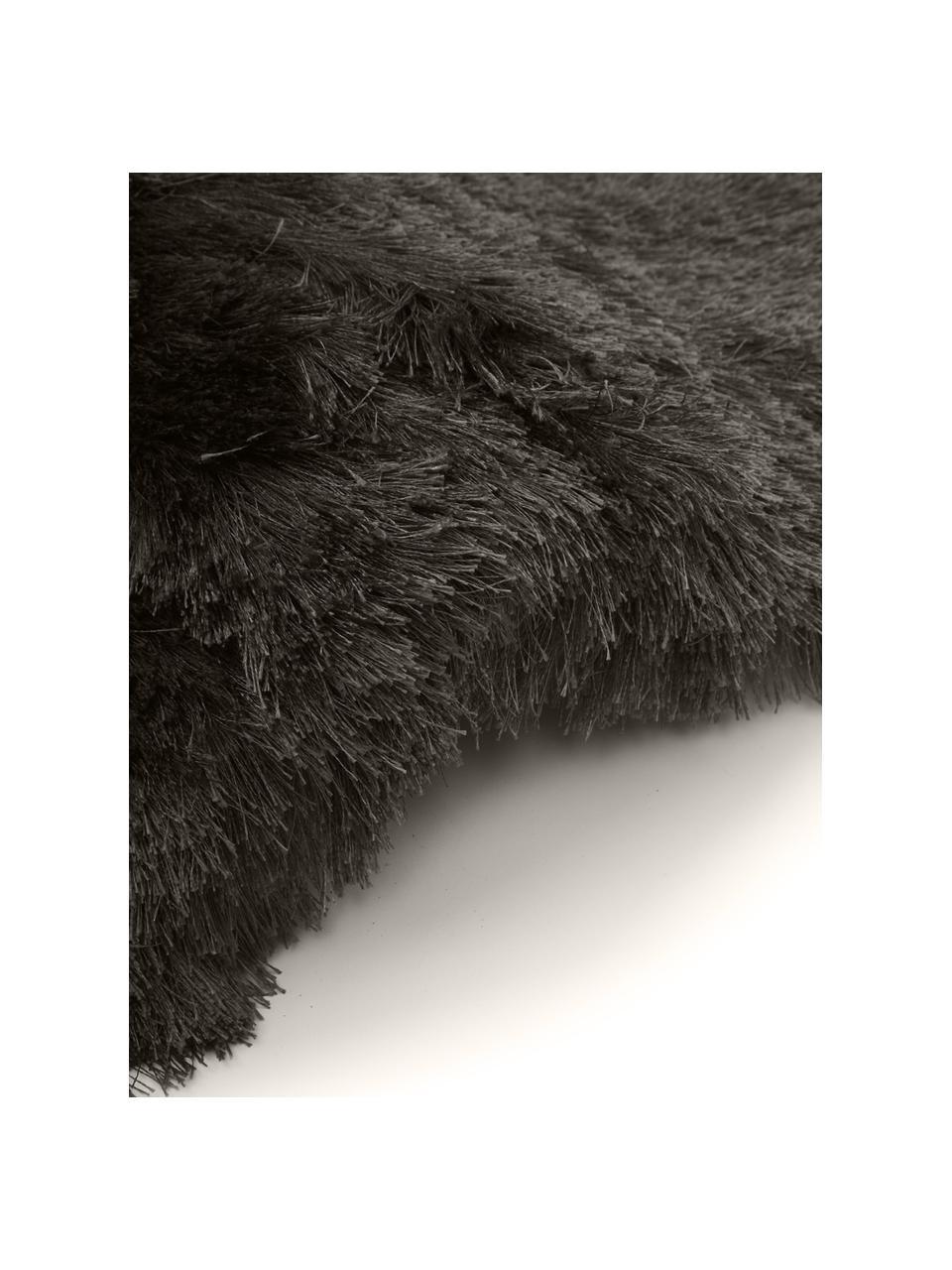 Tapis shaggy gris foncé à longs poils Jimmy, Gris foncé