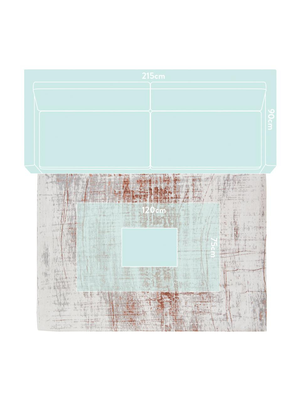Design Teppich Griff im Vintage Style, Flor: 85%Baumwolle, 15%hochgl, Webart: Jacquard, Vorderseite:Grau, Kupferfarben, gebrochenes Weiß, B 140 x L 200 cm (Größe S)