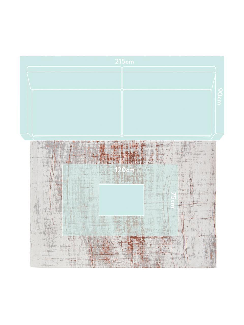 Tappeto vintage di design Griff, Retro: Cotone misto rivestito di, Fronte: grigio, ramato, bianco latteo, Larg. 140 x Lung. 200 cm (taglia S)