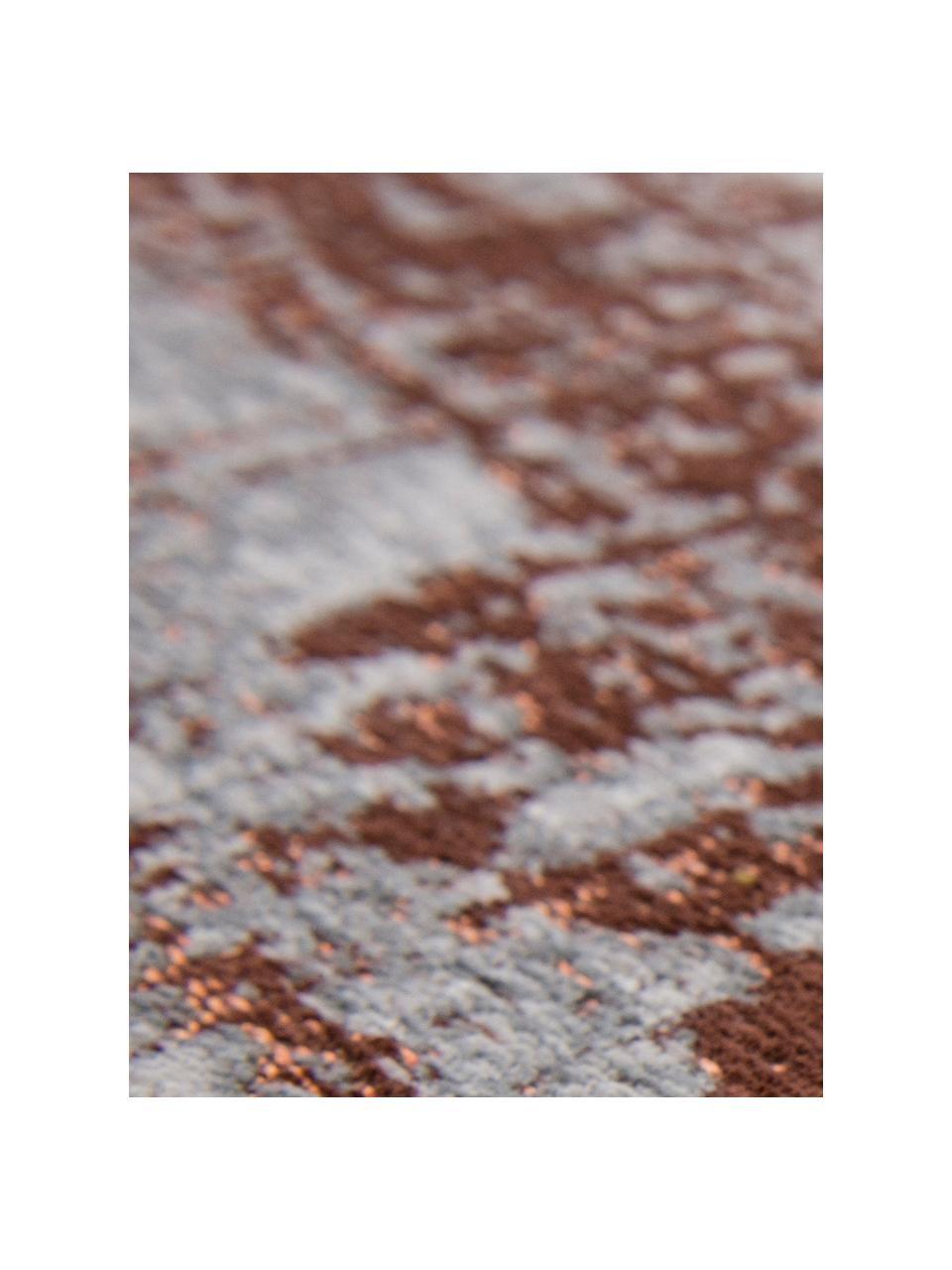 Design vloerkleed Griff in vintage stijl, Bovenzijde: 85%katoen, 15%hoogglanz, Weeftechniek: jacquard, Onderzijde: katoenmix, gecoat met lat, Bovenzijde: grijs, koperkleurig, gebroken wit, B 140 x L 200 cm (maat S)