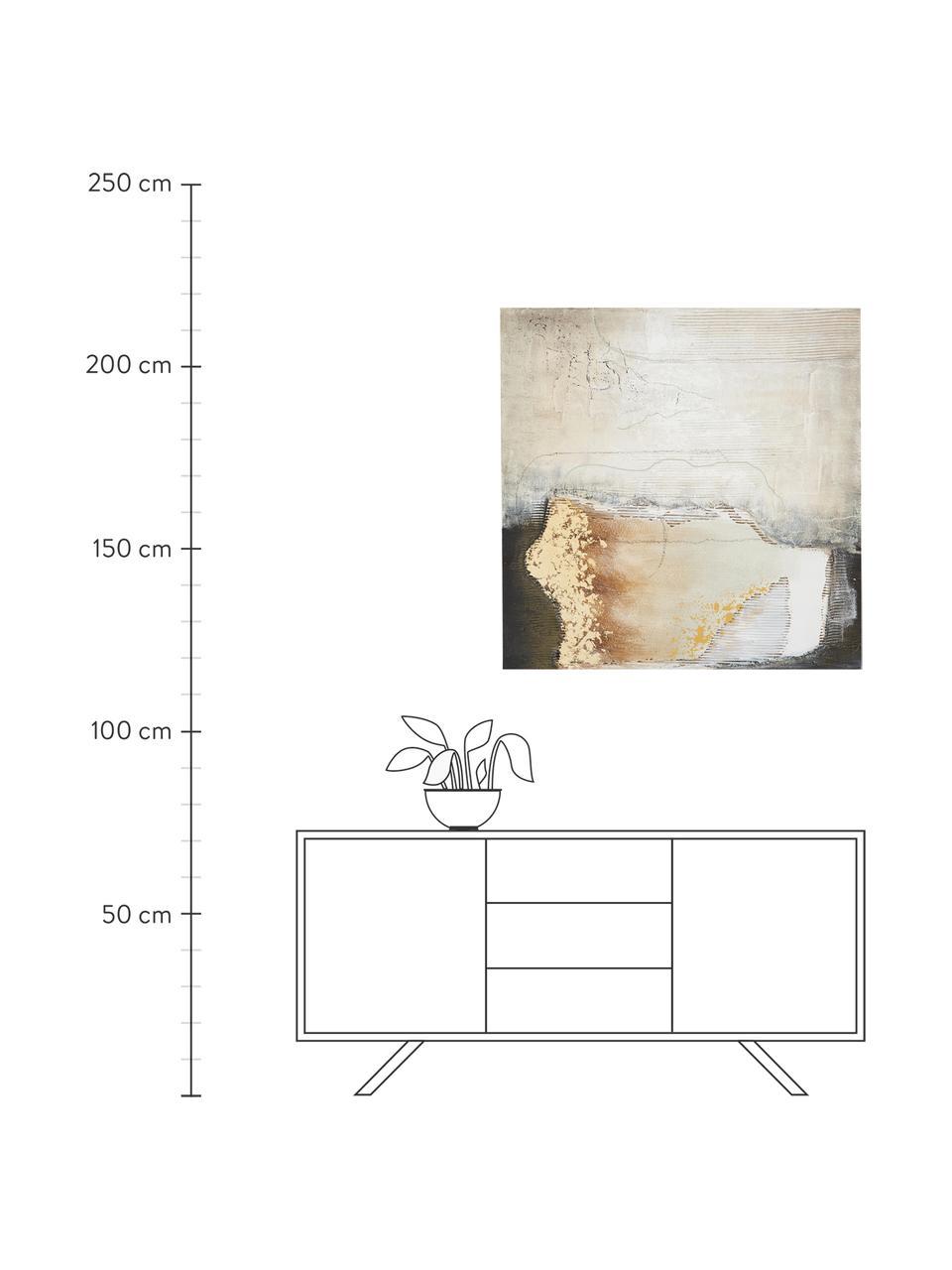 Handgeschilderd canvasdoek Texture, Afbeelding: olieverf op linnen (300 g, Multicolour, 100 x 100 cm