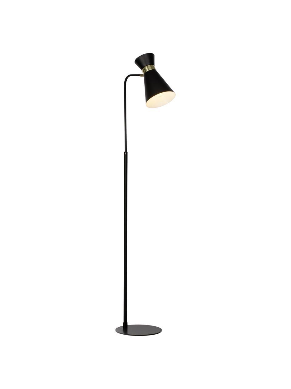 Petite liseuse en métal noir Grazia, Pied de lampe et abat-jour : noir Attache : couleur dorée, mat