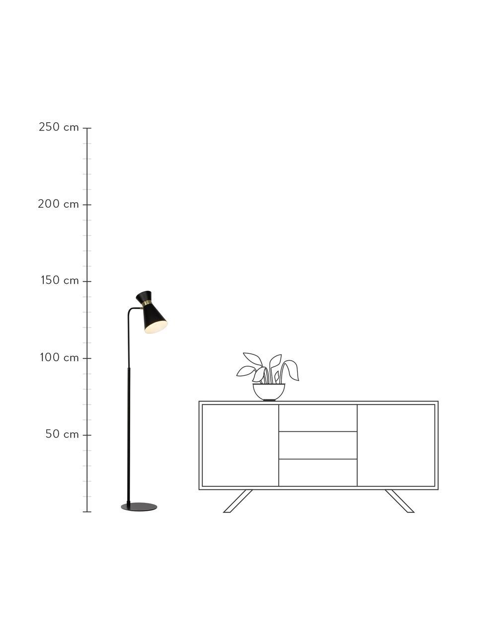 Mała lampka do czytania z metalu Grazia, Metal lakierowany, Podstawa lampy i klosz: czarny Mocowanie: odcienie złotego, matowy, S 39 x W 144 cm
