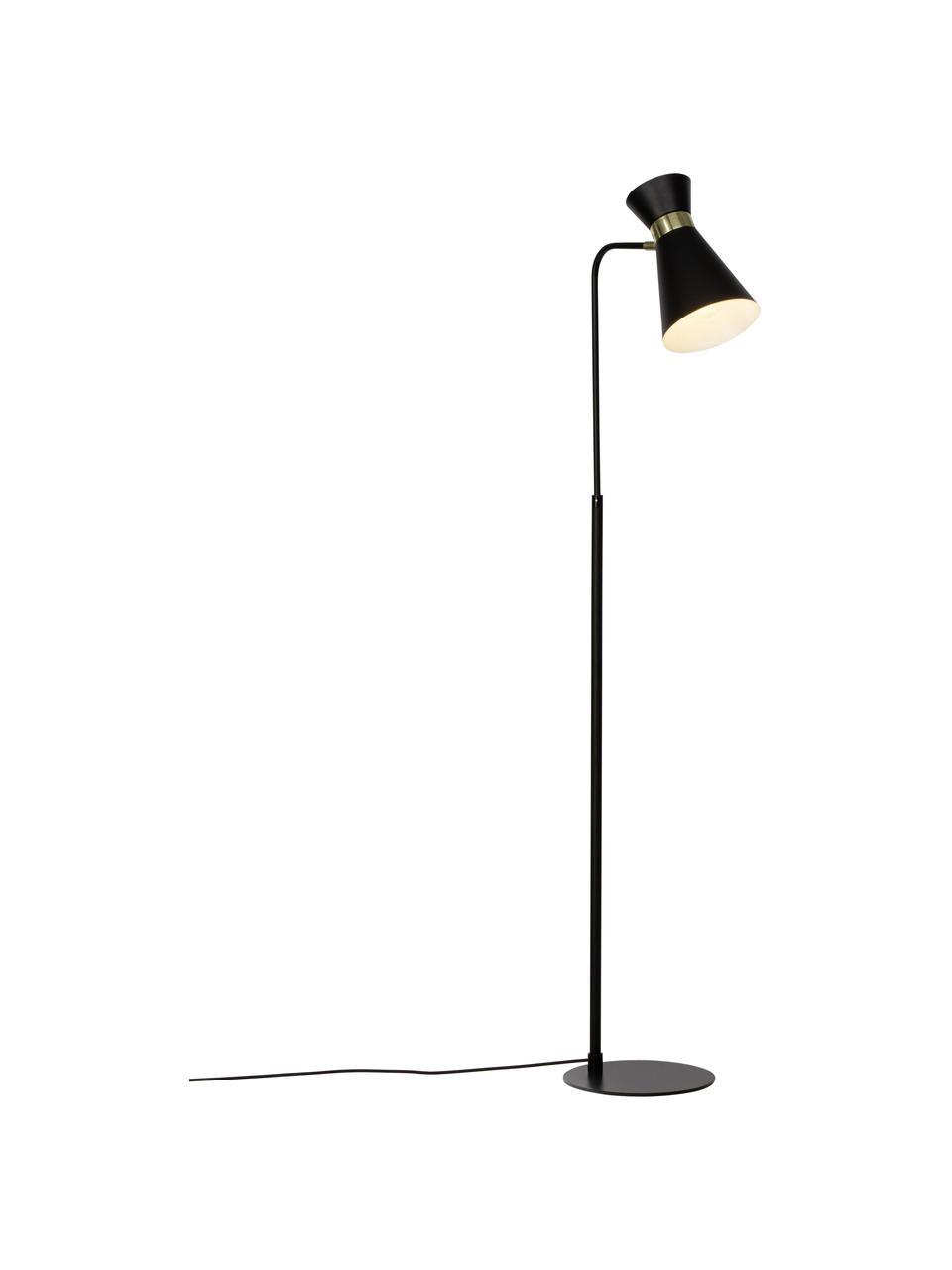 Lampa do czytania w stylu retro Grazia, Podstawa lampy i klosz: czarny Mocowanie: odcienie złotego, matowy, S 39 x W 144 cm