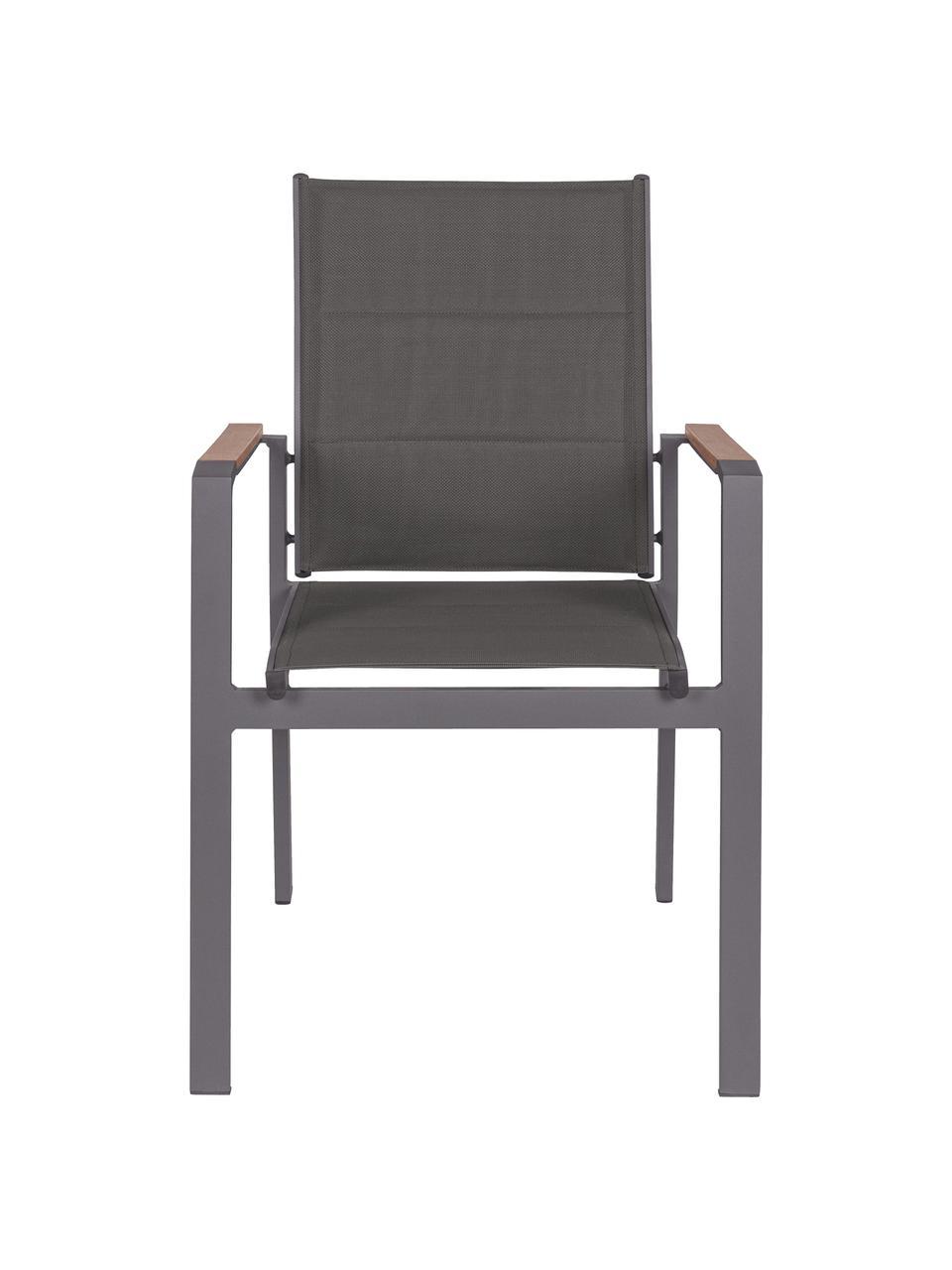 Sediacon braccioli impilabile da giardino Kubik, Struttura: alluminio verniciato a po, Seduta: textilene, Antracite, legno, Larg. 57 x Prof. 62 cm