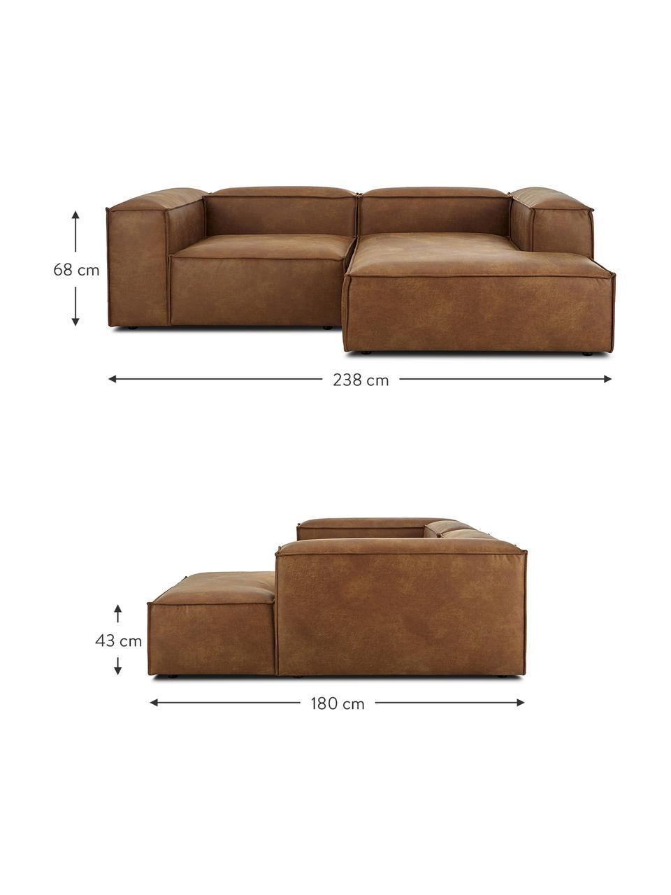 Narożna sofa modułowa ze skóry z recyklingu Lennon, Tapicerka: skóra z recyklingu (70% s, Nogi: tworzywo sztuczne Nogi zn, Brązowy, S 238 x G 180 cm