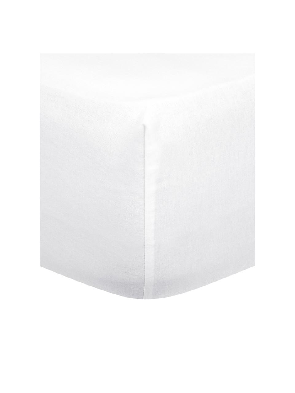 Flanell-Spannbettlaken Biba in Weiß, Webart: Flanell, Weiß, 180 x 200 cm