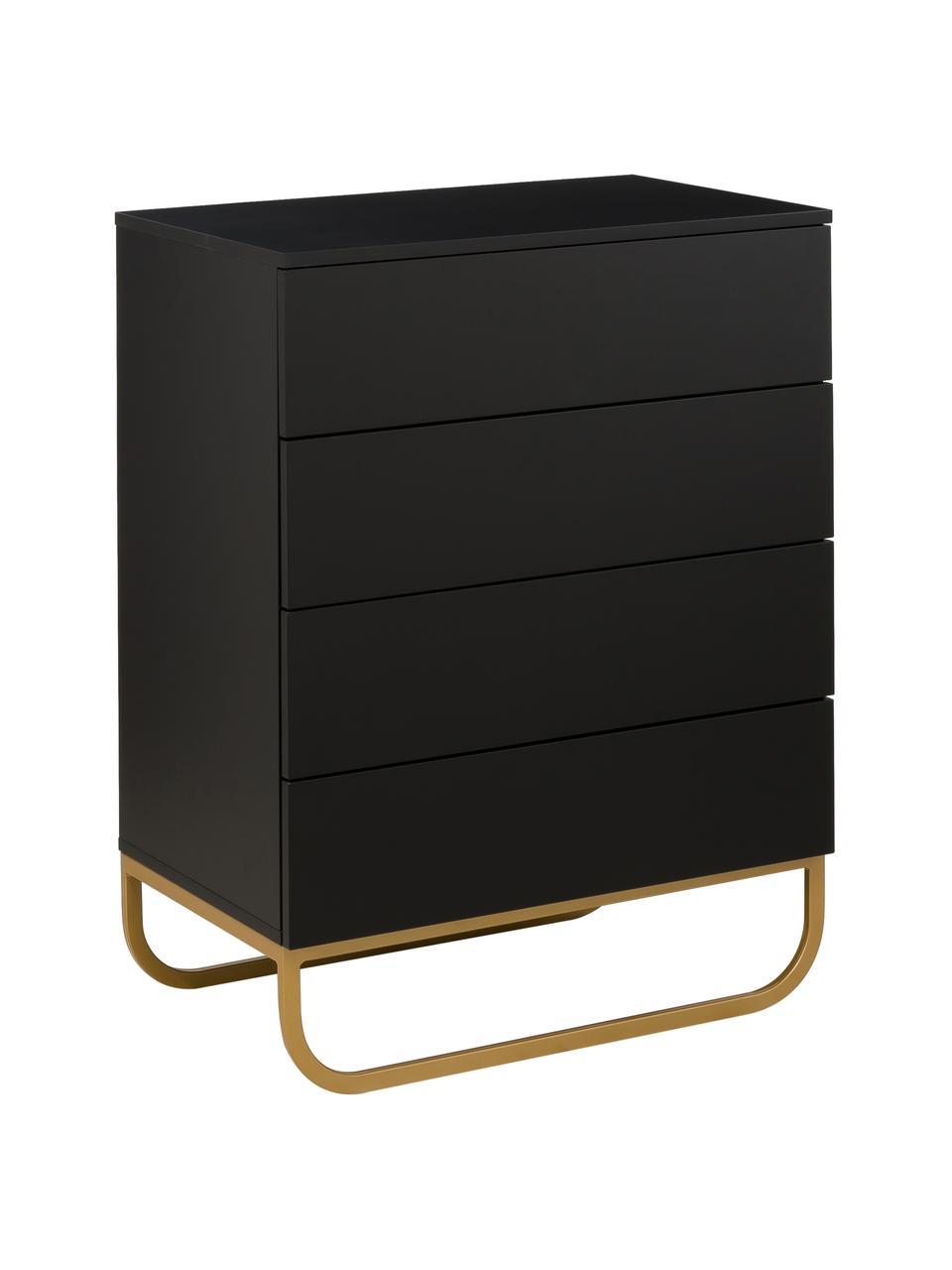 Cassettiera nera Sanford, Nero, dorato, Larg. 80 x Alt. 106 cm