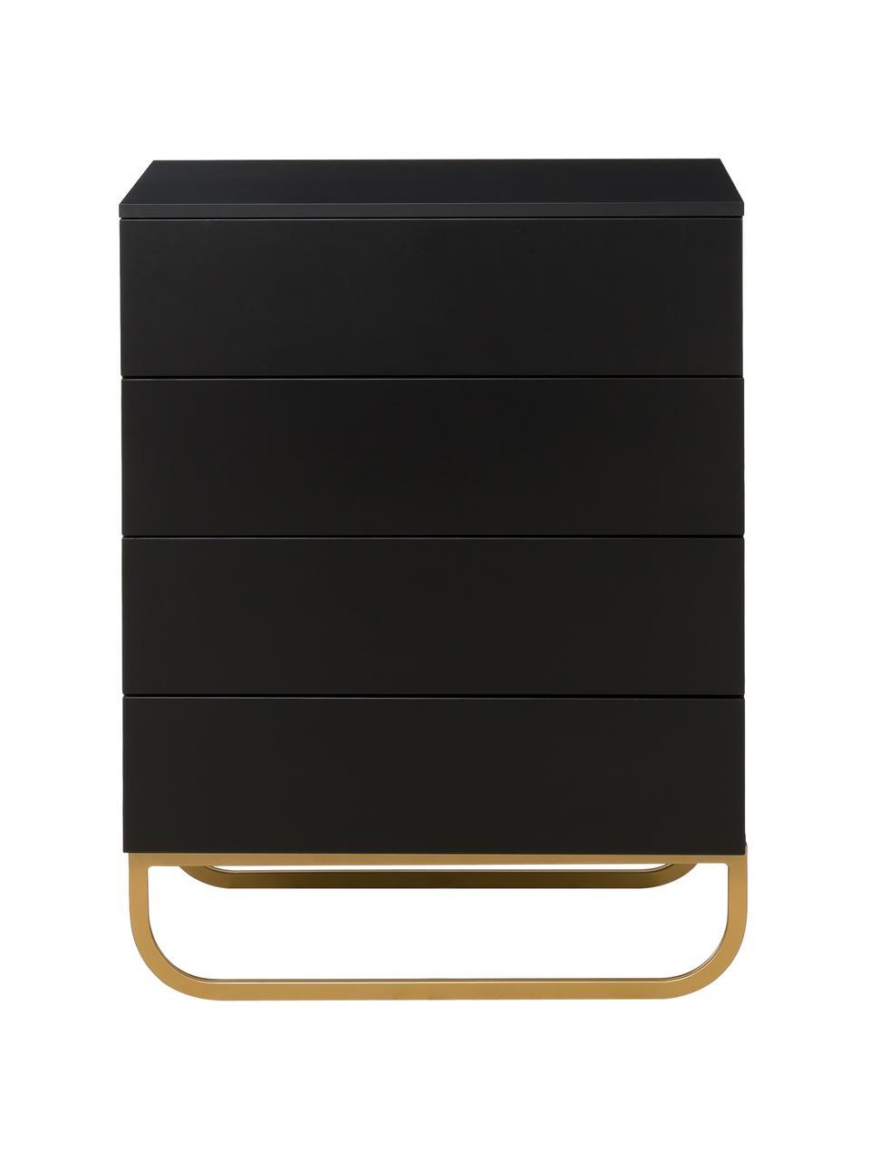 Szafka z szufladami Sanford, Korpus: płyta pilśniowa średniej , Czarny, odcienie złotego, S 80 x W 106 cm