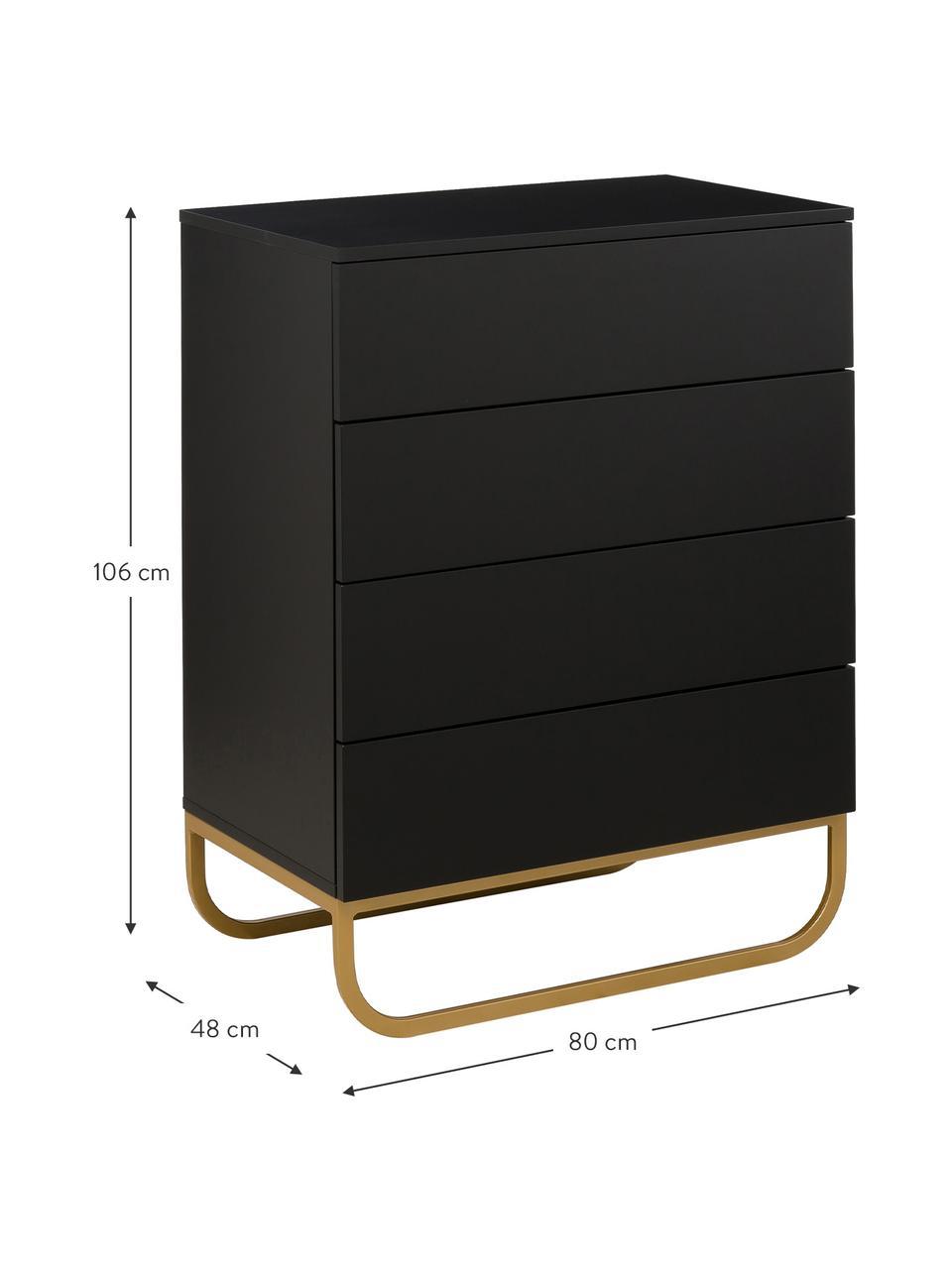 Commode noire avec tiroirs Sanford, Noir, couleur dorée