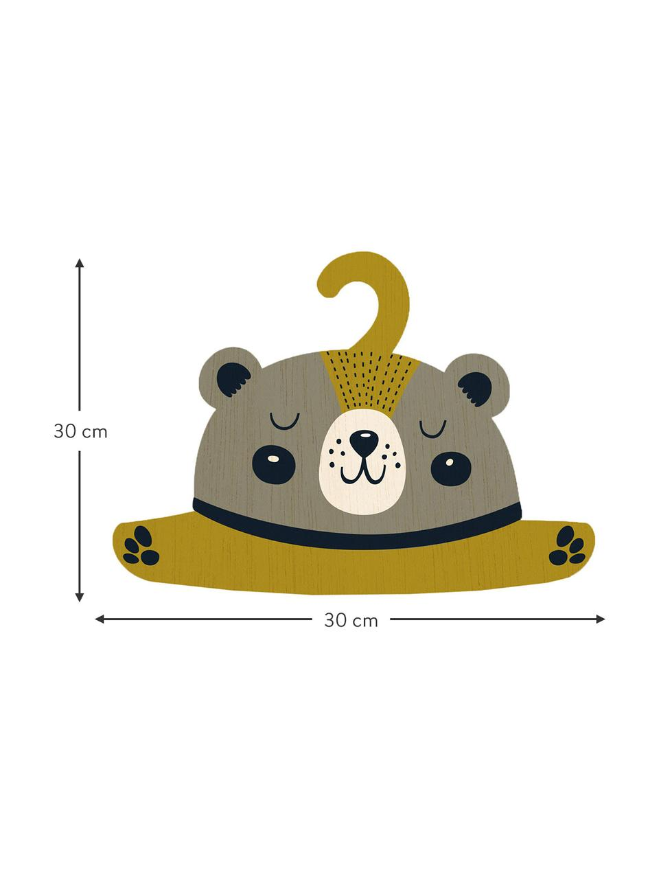 Kleiderbügel Bear, Sperrholz, beschichtet, Greige, Senfgelb, Schwarz, Creme, 30 x 30 cm
