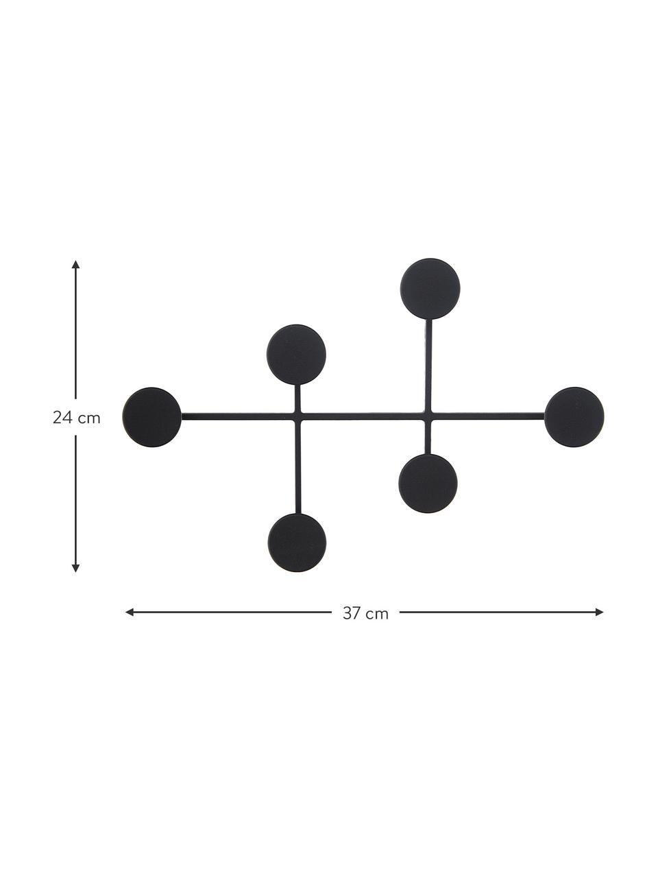 Wandkapstok Afteroom, Gepoedercoat staal, Zwart, 37 x 24 cm