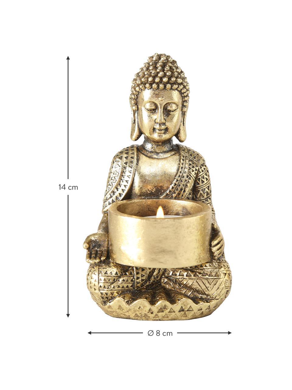 Świecznik na podgrzewacz Jarven, 3 elem., Poliresing, Odcienie złotego, S 8 x W 14 cm
