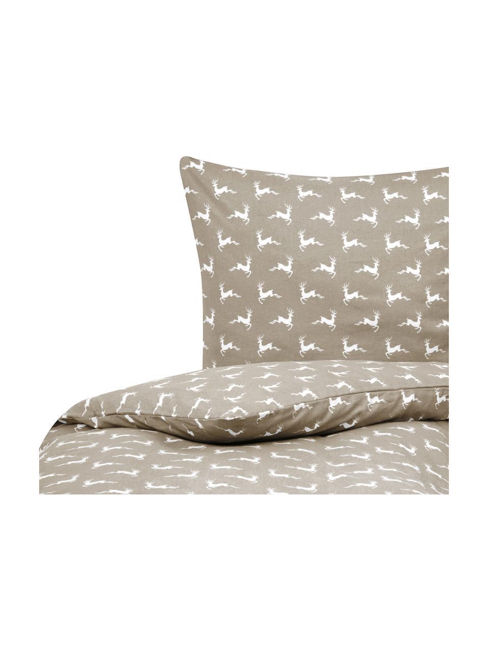 Flanell-Bettwäsche Rudolph mit Rentieren, Webart: Flanell Flanell ist ein k, Beige, Weiß, 135 x 200 cm + 1 Kissen 80 x 80 cm