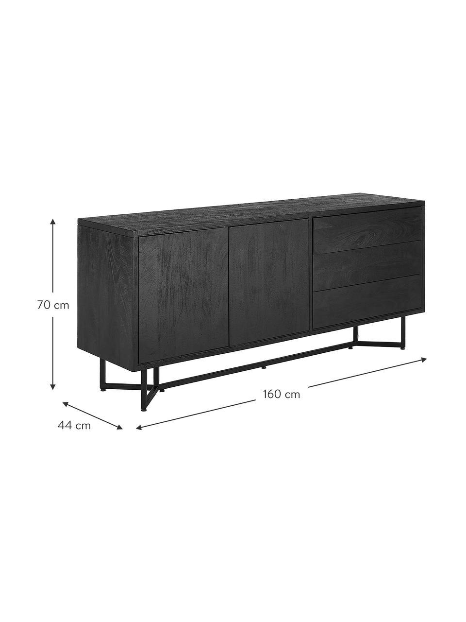 Schwarzes Sideboard Luca mit Türen aus Massivholz, Korpus: Massives Mangoholz, gebür, Gestell: Metall, pulverbeschichtet, Schwarz, 160 x 70 cm