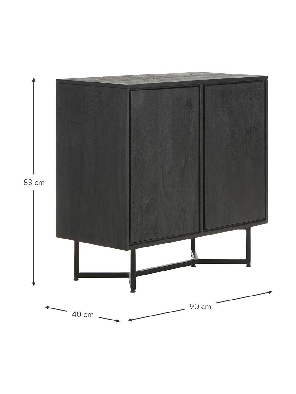 Sideboard Luca aus Massivholz in Schwarz, Korpus: Massives Mangoholz, lacki, Füße: Metall, pulverbeschichtet, Schwarz, 90 x 83 cm