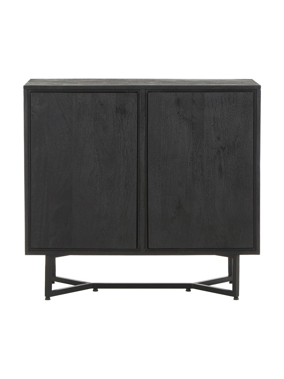 Dressoir Luca van massief hout in zwart, Frame: gelakt massief mangohout, Poten: gepoedercoat metaal, Zwart, 90 x 83 cm