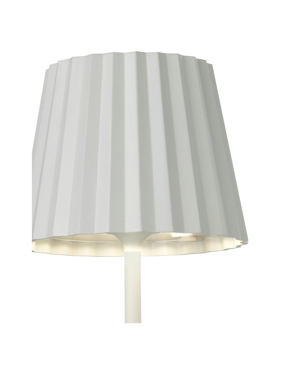 Lampada da tavolo dimmerabile da esterno Trellia, Paralume: alluminio verniciato, Base della lampada: alluminio verniciato, Bianco, Ø 15 x Alt. 38 cm