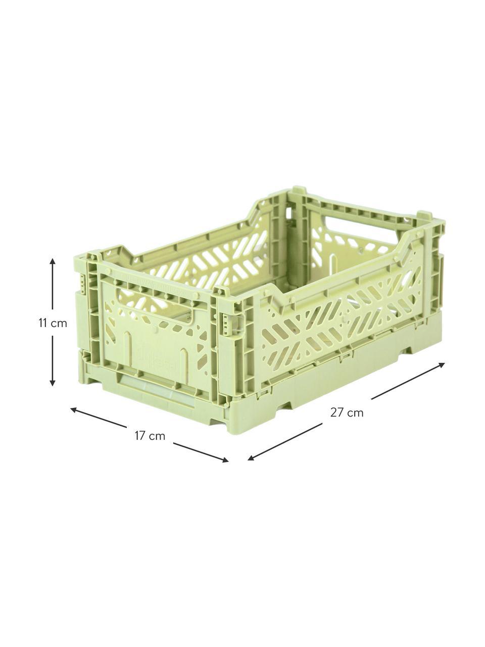 Cesto piccolo pieghevole e impilabile Melon, Materiale sintetico riciclato, Verde melone, Larg. 27 x Alt. 11 cm